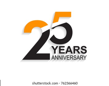 25 years anniversary simple design with white slash in orange and black number for celebration event