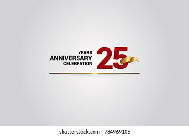 25 Years anniversary using red elegant number isolated on white background, with golden ribbon ca be use as celebration event logo