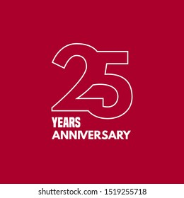 25 years anniversary vector icon,  logo. Graphic design element with number and text composition for 25th anniversary