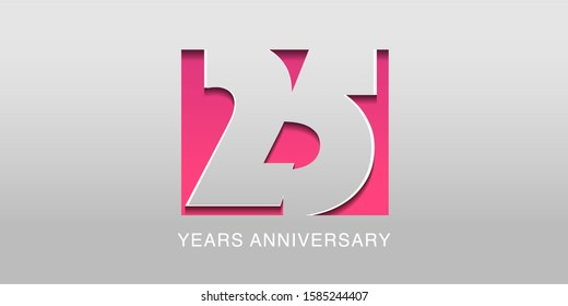 25 years anniversary vector icon, symbol, logo. Graphic background or card in modern style for 25th anniversary birthday celebration