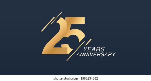 25 years anniversary vector icon, logo. Graphic design element with golden number on isolated background for 25th anniversary