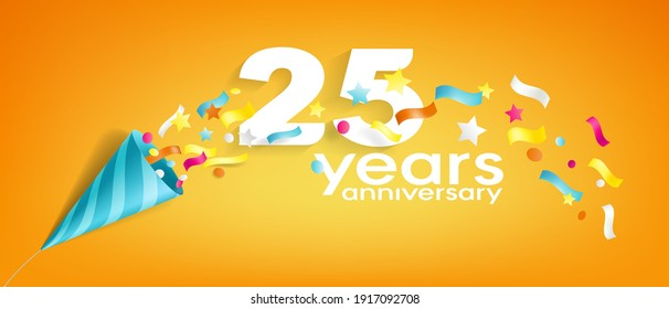 25 years anniversary vector icon, logo, greeting card. Design element with slapstick for 25th anniversary