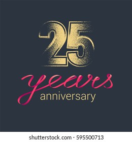25 years anniversary vector icon,  logo. Graphic design element with golden glitter stamp for decoration for 25th anniversary