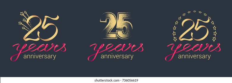 25 years anniversary vector icon,  logo set. Graphic design element with lettering and red ribbon for  celebration of 25th anniversary