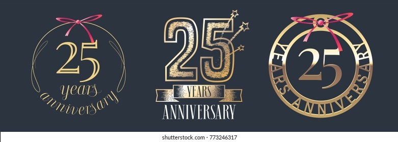 25 years anniversary vector icon,  logo set. Graphic design element with  golden numbers for 25th anniversary celebration