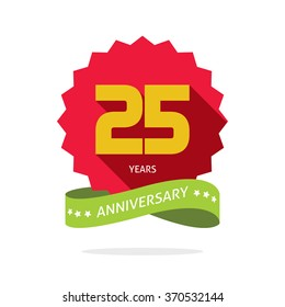 25 years anniversary vector label logo, shadow on circle, number 25 (two five), 25th years anniversary icon. Twenty fifth birthday party symbol, promotion sale sticker ribbon, poster, emblem