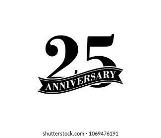 25 Years Anniversary Vector Logo Design Template. 25th Birthday Celebration.