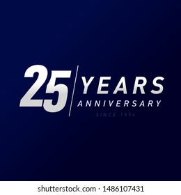 25 years anniversary vector template design illustration. 25th year anniversary silver numbers. Greetings, award, celebration. Celebrating 2 idea and sale 25% off. Awards ceremony place logotype