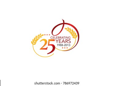 25 years celebrating logo, isolated on white  background illustration vector