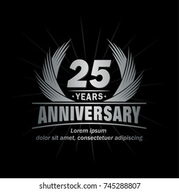 25 years design template. Anniversary vector and illustration template.