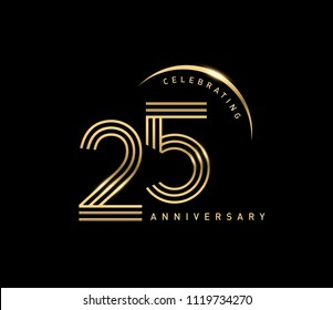 25 years gold anniversary celebration simple logo, isolated on dark background. celebrating Anniversary logo with ring and elegance golden color vector design for celebration,