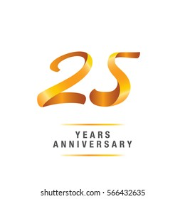 25 years golden anniversary celebration logo , isolated on white background