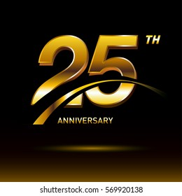 25 years golden anniversary logo celebration