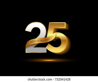 25 years golden anniversary logo celebration with ribbon
