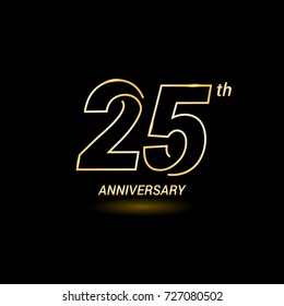 25 years golden line anniversary celebration logo design