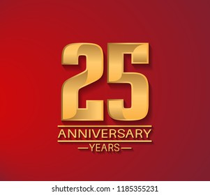 25 years golden shiny anniversary simple design with red background. Vector template for company celebration event, greeting card and invitation card