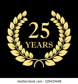 25 years icon. 25th anniversary or birthday laurel wreath emblem. Vector illustration.