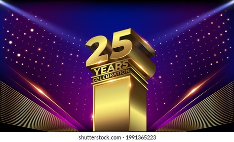 25 years Jubilee Blue Pink Golden Shimmer Awards Graphics Background Celebration. Entertainment Spot Light Hollywood Template  Luxury Premium Corporate Abstract Design Template Banner Certificate - Shutterstock ID 1991365223