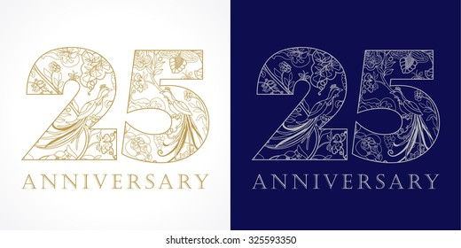 25 years old luxurious celebrating folk numbers. Template gold and silver colored 25 th happy anniversary greetings, ethnics flowers, plants, paradise birds. Traditional congratulation pattern.