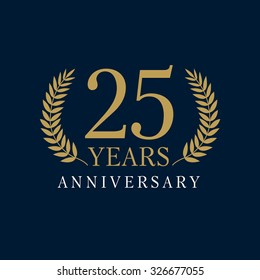 25 years old luxurious logotype. Congratulating 25th numbers gold colored template framed in palms. Isolated greetings celebrates. Celebrating traditional twenty five in branches. 2nd second place.