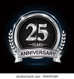 25 years silver anniversary logo with laurel wreath, ribbon and silver ring. vector design