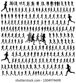 250 different runners silhouettes collection - vector