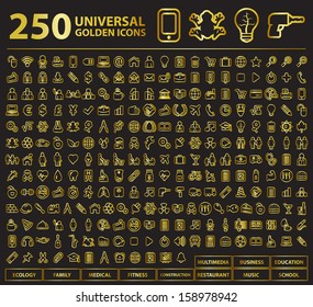 250 Universal Golden Stroke Icons.