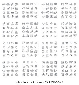 256 modern thin line icons. High quality pictograms. Linear icons set of business, medical, UI and UX, media, money, etc symbol template for graphic and web design collection logo vector illustration