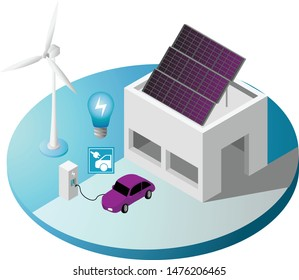2.5D / Isometric, Isolated Green Energy and Eco Friendly related objects in yard -background including Windmill, Solar Panels, Car Charging Point, Car and Garage.