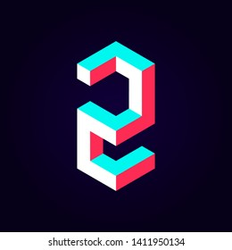 2.5d stylized blue red solid isometric number vector on dark background, modular geometric cube font with tik tok contrast color block, digital design for web & print, number two 2 symbol typography