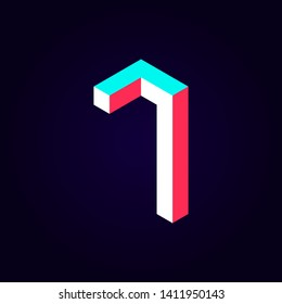 2.5d stylized blue red solid isometric number vector on dark background, modular geometric cube font with tik tok contrast color block, digital design for web & print, number seven 7 symbol typography