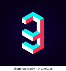 2.5d stylized blue red solid isometric number vector on dark background, modular geometric cube font with tik tok contrast color block, digital design for web & print, number three 3 symbol typography