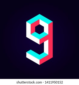 2.5d stylized blue red solid isometric number vector on dark background, modular geometric cube font with tik tok contrast color block, digital design for web & print, number nine 9 symbol typography