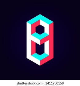 2.5d stylized blue red solid isometric number vector on dark background, modular geometric cube font with tik tok contrast color block, digital design for web & print, number eight 8 symbol typography