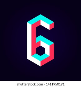 2.5d stylized blue red solid isometric number vector on dark background, modular geometric cube font with tik tok contrast color block, digital design for web & print, number six 6 symbol typography