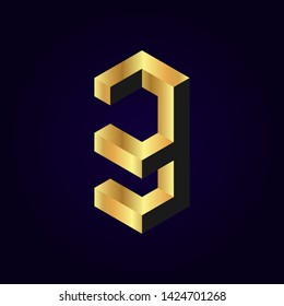 2.5d stylized golden solid isometric number vector on dark background, 3d modular geometric cube font with gold yellow color block, digital design for web & print, number three 3 symbol typography