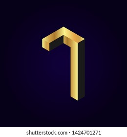 2.5d stylized golden solid isometric number vector on dark background, 3d modular geometric cube font with gold yellow color block, digital design for web & print, number seven 7 symbol typography