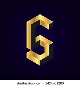 2.5d stylized golden solid isometric number vector on dark background, 3d modular geometric cube font with gold yellow color block, digital design for web & print, number five 5 symbol typography