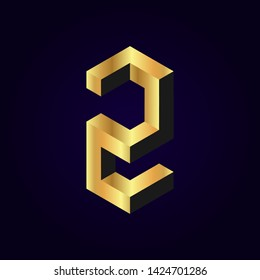 2.5d stylized golden solid isometric number vector on dark background, 3d modular geometric cube font with gold yellow color block, digital design for web & print, number two 2 symbol typography