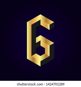 2.5d stylized golden solid isometric number vector on dark background, 3d modular geometric cube font with gold yellow color block, digital design for web & print, number six 6 symbol typography