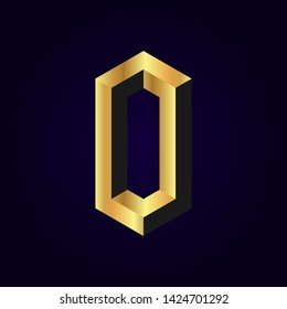 2.5d stylized golden solid isometric number vector on dark background, 3d modular geometric cube font with gold yellow color block, digital design for web & print, number zero 0 symbol typography