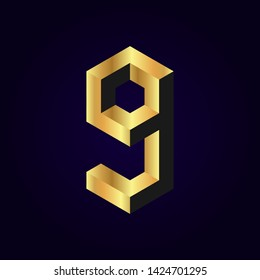 2.5d stylized golden solid isometric number vector on dark background, 3d modular geometric cube font with gold yellow color block, digital design for web & print, number nine 9 symbol typography