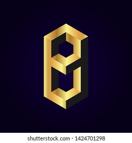 2.5d stylized golden solid isometric number vector on dark background, 3d modular geometric cube font with gold yellow color block, digital design for web & print, number eight 8 symbol typography