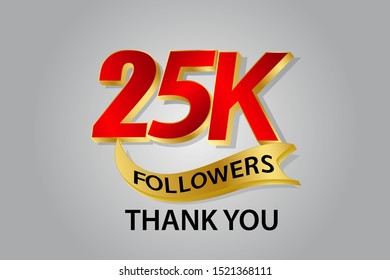 25K, 25.000 Followers anniversary, minimalist logo years, jubilee, greeting card. invitation. Sign Ribbon Gold space Red and Gold number vector illustration on black background - Vector