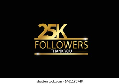 25k, 25.000 Followers celebration logotype. anniversary logo with golden and Spark light white color isolated on black background for social media - Vector