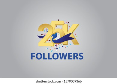 25K, 25.000 Followers Thank you blue ribbon celebration logotype for social media, internet - vector