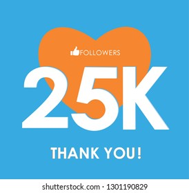 25K followers, social sites post, greeting card vector illustration