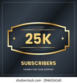 25k  subscribers, Thank you subscribers banner, card, vector illustration design.