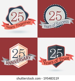 25th Anniversary / 25 years together / 25 years of Success / 25 years of trust - Set of Retro vector Stamps and Seal