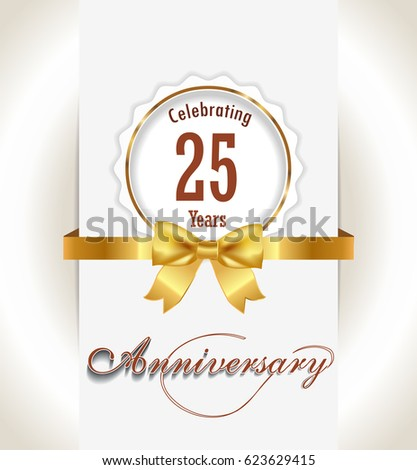25th Anniversary Background 25 Years Celebration Stock Vector